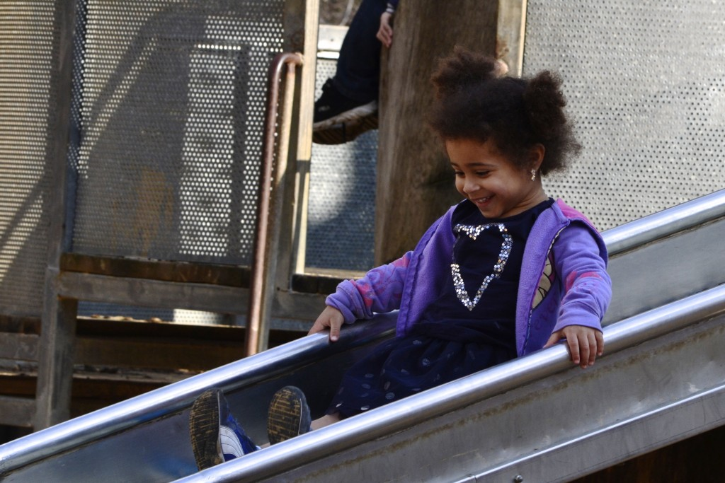 Jasmine going down the slide at the Jerusalem Biblical Zoo