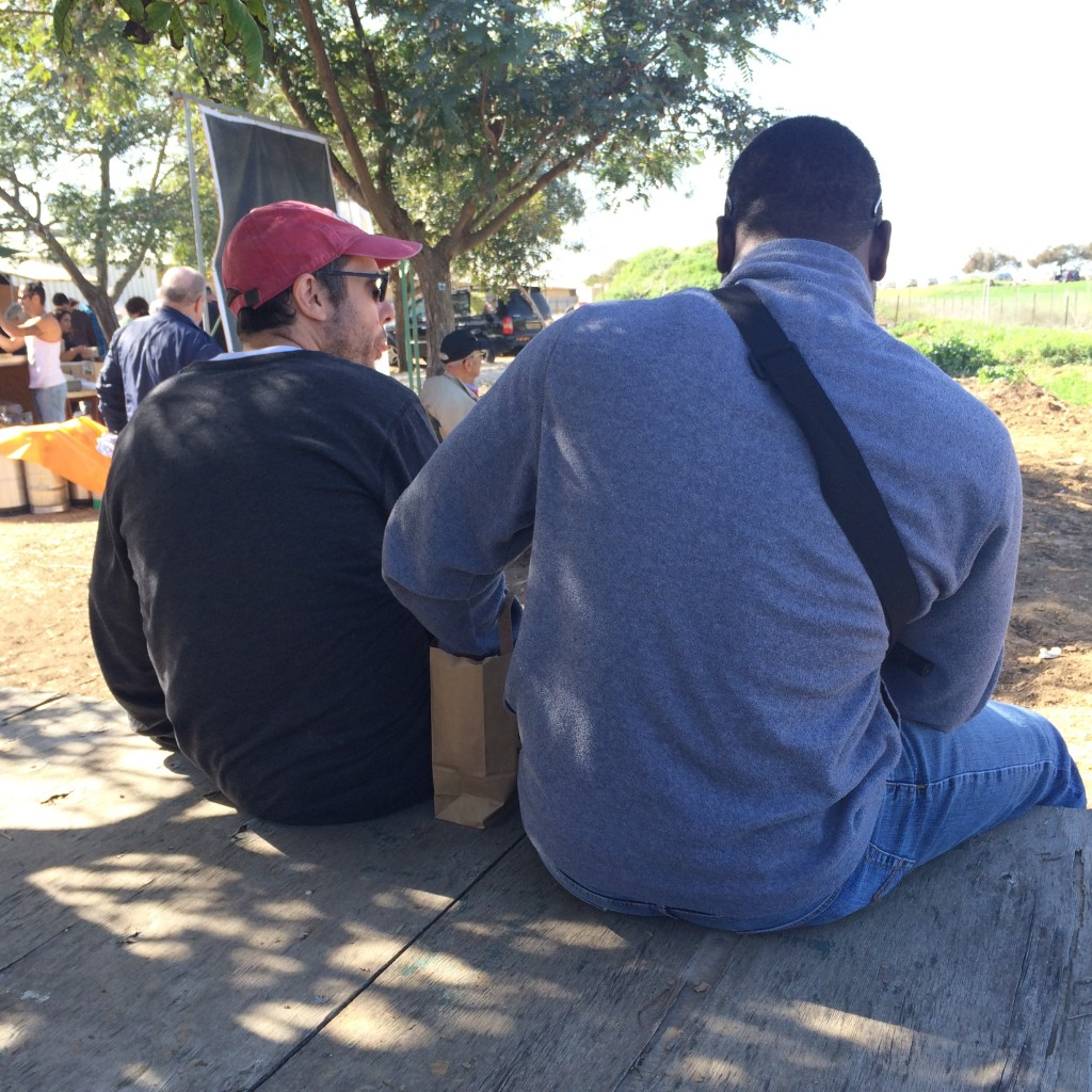 Ian and Bertrand eating lunch at Darom Adom, the Southern Anemone Festival