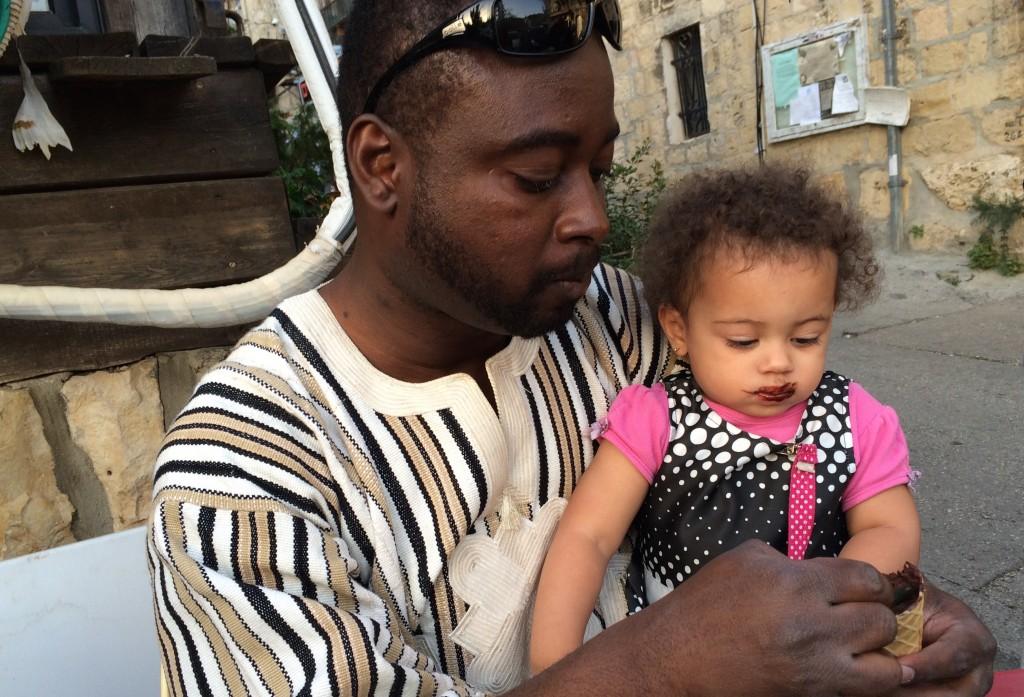 Bertrand and Grace eating ice cream in Ein Karem